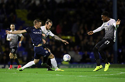John White of Southend United is closed down by Jack Marriott and Jermaine Anderson of Peterborough United - Mandatory by-line: Joe Dent/JMP - 17/10/2017 - FOOTBALL - Roots Hall - Southend-on-Sea, England - Southend United v Peterborough United - Sky Bet League Two
