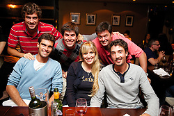 LIVERPOOL, ENGLAND - Thursday, June 20, 2013: Guido Pella, Pablo Andujar and Martin Alund enjoy dinner at Chaophraya Thai restaurant in Liverpool One during Day One at the Liverpool Hope University International Tennis Tournament at Calderstones Park. (Pic by David Rawcliffe/Propaganda)