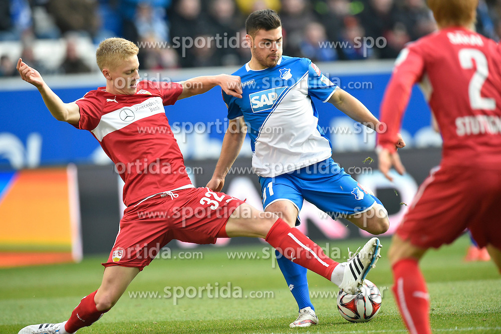 14.02.2015, Rhein Neckar Arena, Sinsheim, GER, 1. FBL, TSG 1899 Hoffenheim vs VfB Stuttgart, 21. Runde, im Bild Zweikampf Aktion Timo Baumgartl VfB Stuttgart (links) gegen Kevin Volland TSG 1899 Hoffenheim (Mitte) und Gotoku Sakai VfB Stuttgart (rechts) // during the German Bundesliga 21th round match between TSG 1899 Hoffenheim and VfB Stuttgart at the Rhein Neckar Arena in Sinsheim, Germany on 2015/02/14. EXPA Pictures &copy; 2015, PhotoCredit: EXPA/ Eibner-Pressefoto/ Weber<br /> <br /> *****ATTENTION - OUT of GER*****