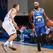 Delaware 87ers Guard BARON DAVIS (34) dribbles the ball down the floor as Iowa Energy Guard TRAEVON JACKSON (12) defends in the first half of a NBA D-league regular season basketball game between the Delaware 87ers and the Iowa Energy Friday, Mar. 04, 2016. at The Bob Carpenter Sports Convocation Center in Newark, DEL.