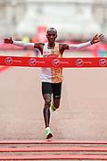 Eliud Kipchoge (Kenya) winning the Men's Elite race in the Virgin Money 2019 London Marathon, London, United Kingdom on 28 April 2019.