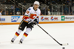 March 23, 2011; San Jose, CA, USA;  Calgary Flames defenseman Anton Babchuk (33) warms up before the game against the San Jose Sharks at HP Pavilion. San Jose defeated Calgary 6-3. Mandatory Credit: Jason O. Watson / US PRESSWIRE