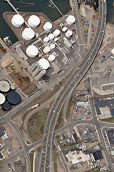"""Pearl Harbor Memorial Pearl Harbor Memorial """"Q"""" Bridge, West Bound Approaches just east of Bridge. I95 near Woodward Avenue Interchange Aerial Photograph, view West including Waterfront Street, old Stiles Street ramp, Getty Terminal & Tank Farms."""