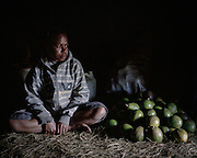 Annie (16) sits next to a pile of fruits that she picked and ready to be sold at a nearby market.<br /> <br /> Annie found out that she was HIV-positive 6 months ago.  Her condition worsened and she spent 3 weeks in the hospital.  Fortunately, Annie received support and counseling from a local NGO, Public Health Development Foundation (YPKM).  With their assistance, Annie is currently on Antiretroviral Therapy (ART).