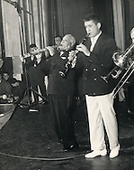 Sidney Bechet and Claude Luter giving a free concert in the Olympia Music Hall in Paris, November 1955.<br />