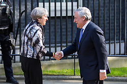 © Licensed to London News Pictures. 20/04/2017. London, UK. British Prime Minister Theresa May meets President of the European Parliament Antonio Tajani in Downing Street today. May triggered Article 50 on 29 March 2017, formally beginning Britain's exit from the EU. Photo credit : Tom Nicholson/LNP