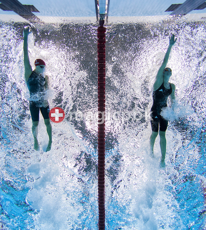Francesca Halsall (L) of Great Britain and Britta Steffen of Germany compete in the women's 50m Freestyle Heats during the Swimming competition held at the Aquatics Center during the London 2012 Olympic Games in London, Great Britain, Friday, Aug. 3, 2012. (Photo by Patrick B. Kraemer / MAGICPBK)