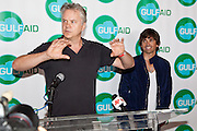 Tim Robbins and Sidney Torres IV during press conference at the Gulf Aid Benefit Concert at Blaine Kern's Mardi Gras World