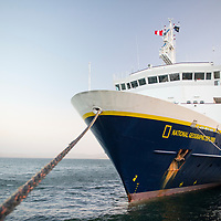 The National Geographic Explorer ship docked in Paracas, Ica Region, Peru.