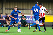 AFC Wimbledon striker Joe Pigott (39) dribbling during the Pre-Season Friendly match between AFC Wimbledon and Brentford at the Cherry Red Records Stadium, Kingston, England on 5 July 2019.