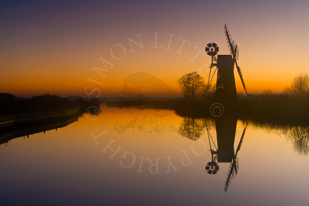 Turf Fen Windpump on River Ant, Ludham, Norfolk at dusk. Norfolk Broads N.P. Windmill