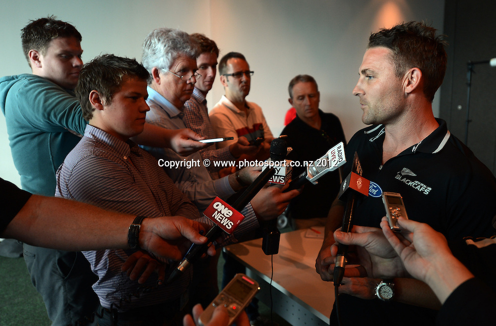 New Zealand Cricket Captain Brendon McCullum during a press conference before the team's departure to South Africa, Novotel Hotel. Tuesday 11 December 2012. Photo: Andrew Cornaga/Photosport.co.nz