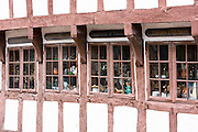 Half-timbered shop in Nedergade in Odense on Funen Island, Denmark