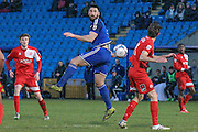 Matty Brown (Halifax) heads the ball towards goal during the Vanarama National League match between FC Halifax Town and Welling United at the Shay, Halifax, United Kingdom on 30 January 2016. Photo by Mark P Doherty.