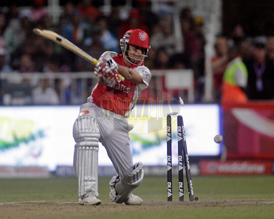 DURBAN, SOUTH AFRICA - 1 May 2009. Piyush Chawla is bowled during the IPL Season 2 match between Kings X1 Punjab and the Royal Challengers Bangalore held at Sahara Stadium Kingsmead, Durban, South Africa..