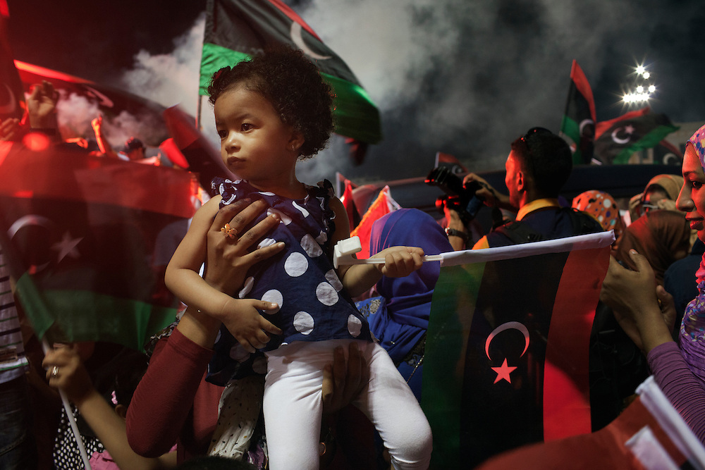 Libyans celebrate the first democratic elections after 42 years of dictatorship in Martyrs square, former Greeen square, in Tripoli