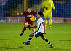 BURY, ENGLAND - Wednesday, March 6, 2019: Liverpool's Leighton Clarkson and Bury's Aaron Brown during the FA Youth Cup Quarter-Final match between Bury FC and Liverpool FC at Gigg Lane. (Pic by David Rawcliffe/Propaganda)