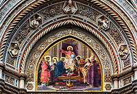 """Lunette mosaic of Christ enthroned with Mary and John the Baptist - Florence Cathedral""…<br />