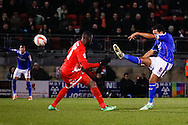 Korey Smith of Oldham Athletic scores his team's first goal to make it 1-1 during the Sky Bet League 1 match at the Matchroom Stadium, London<br /> Picture by David Horn/Focus Images Ltd +44 7545 970036<br /> 25/03/2014
