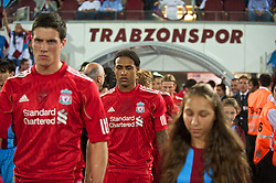 TRABZON, TURKEY - Thursday, August 26, 2010: Liverpool's Glen Johnson walks out to face Trabzonspor during the UEFA Europa League Play-Off 2nd Leg match at the Huseyin Avni Aker Stadium. (Pic by: David Rawcliffe/Propaganda)