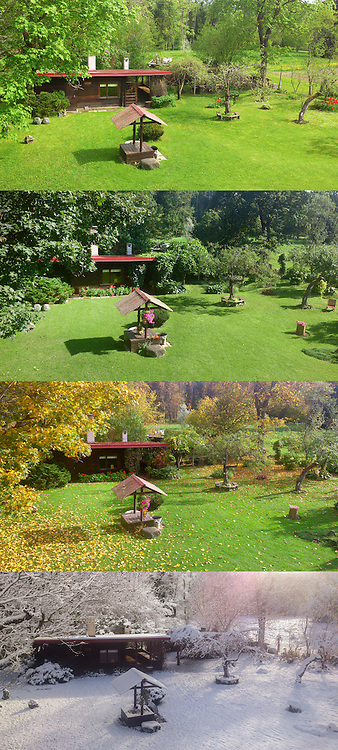 Old sauna with well. Rural garden. Composite image of four images. Season, spring, summer, autumn, winter.
