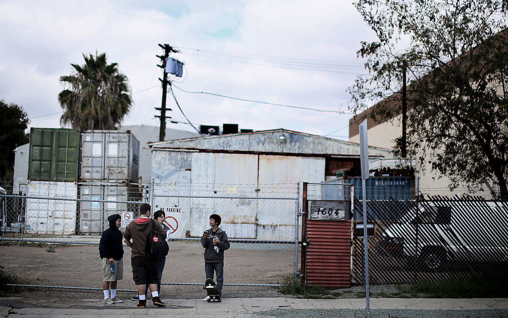 Students from the Monarch School hang out nearby after school in Downtown San Diego, CA on Monday, May 18, 2015.  The Monarch School is the largest elementary through High School facility that caters to students that are homeless or are have associations with homelessness.(Photo by Sandy Huffaker for The Atlantic)