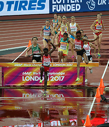 London, August 09 2017 . Ruth Jebet, Bahrain, and Beatrice Chepkoech, Kenya, take the lead in the women's 3,000m steeplechase heats on day six of the IAAF London 2017 world Championships at the London Stadium. © Paul Davey.