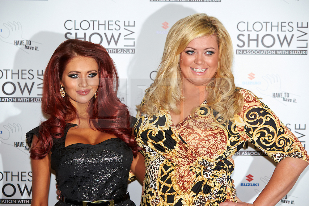 © Licensed to London News Pictures.  07/12/2012. BIRMINGHAM, UK. Reality TV stars Amy Childs (left) and Gemma Collins (right) are seen during the opening photo call for the Clothes Show Live event being held in the NEC, Birmingham. The show opens today and runs until Tuesday. Photo credit :  Cliff Hide/LNP