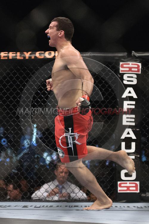 "SYDNEY, AUSTRALIA, FEBRUARY 27, 2011: Anthony Perosh celebtates his win at ""UFC 127: Penn vs. Fitch"" inside Acer Arena in Sydney, Australia on February 27, 2011."