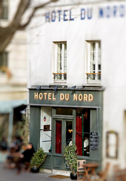 H&ocirc;tel du Nord, Paris, France.<br /> Hotel du Nord's frontage, Paris-Ile-de-France region, France.