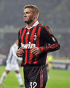 David Beckham pulls a funny face as Juventus take on AC Milan during their Italian Serie A football match on January 10, 2010 at Turin Olimpic Stadium. ** UK ONLY **