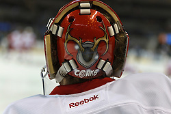 Nov 17, 2011; San Jose, CA, USA; Detroit Red Wings goalie Ty Conklin (29) warms up before the game against the San Jose Sharks at HP Pavilion. San Jose defeated Detroit 5-2. Mandatory Credit: Jason O. Watson-US PRESSWIRE