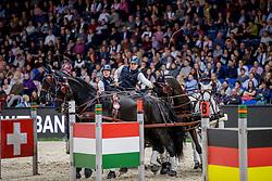GEERTS Glenn (BEL), Maestoso XLV - 3, Maestoso XLV-1-1, Negro, Szellem<br /> Stuttgart - German Masters 2019<br /> Preis der Firma iWEST<br /> Einlaufprüfung für den FEI WORLD CUP™ DRIVING 2019/2020<br /> Int. Zeit-Hindernisfahren für Vierspänner mit zwei unterschiedlichen Umläufen CAI-W<br /> 15. November 2019<br /> © www.sportfotos-lafrentz.de/Stefan Lafrentz
