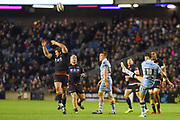 Adam Hastings kicks clear during the 1872 Challenge Cup, Guinness Pro 14 2018_19 match between Edinburgh Rugby and Glasgow Warriors at BT Murrayfield Stadium, Edinburgh, Scotland on 22 December 2018.
