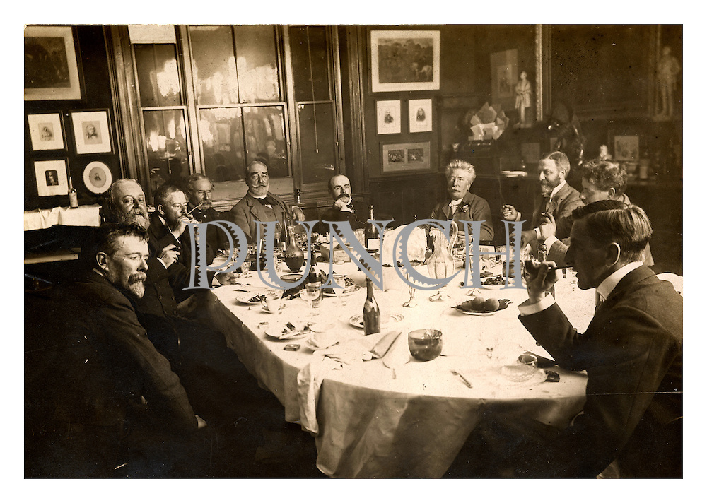 The premises of Punch magazine circa 1891.  It shows the editor, Francis Burnand, along with other members of the famous Punch Table, consisting of staff and contributors including cartoonists Sir John Tenniel, Linley Sambourne, Bernard Partridge, George du Maurier and writers Henry Lucy, Gilbert Arthur a Beckett and Thomas Anstey Guthrie.