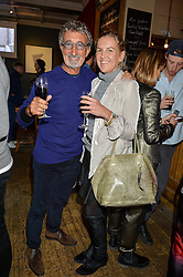 EDDIE JORDAN and HANNELI RUPERT at a quiz night hosted by Zoe Jordan to celebrate the launch of her men's ZJKNITLAB collection held at The Larrick Pub, 32 Crawford Place, London on 20th April 2016.