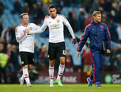 Wayne Rooney congratulates Chris Smalling after Manchester United win the game 0-1 - Mandatory byline: Rogan Thomson/JMP - 07966 386802 - 14/08/2015 - FOOTBALL - Villa Park Stadium - Birmingham, England - Aston Villa v Manchester United - Barclays Premier League.