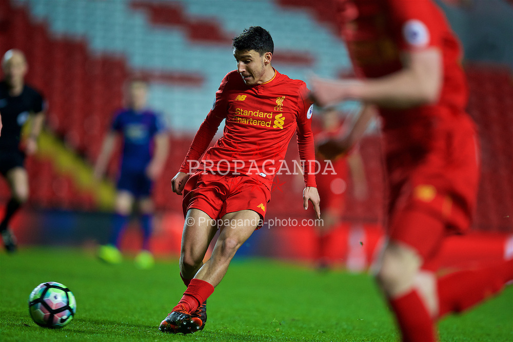 LIVERPOOL, ENGLAND - Monday, January 16, 2017: Liverpool's Paolo Alves in action against Manchester United during the FA Premier League 2 Division 1 Under-23 match at Anfield. (Pic by David Rawcliffe/Propaganda)