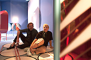Patricia Urquiola, Spanish designer, and Federico Pepe, Italian graphic designer, pose at Spazio Pontaccio, a design gallery in Milan, April 11, 2016. On the background some forniture of theirs collection. &copy; Carlo Cerchioli<br /> <br /> Patricia Urquiola, designer spagnola, e Federico Pepe, grafico italiano posano allo Spazio Pontaccio, galleria di design a Milano 11 parile, 2016. Sullo sfondo alcuni mobili di loro crazione.