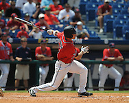 Mississippi's Taylor Hashman (27) drives in Matt Smith with an RBI single in the 7th inning vs. South Carolina during the Southeastern Conference tournament at Regions Park in Hoover, Ala. on Wednesday, May 26, 2010. Ole Miss won 3-0.