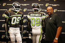 Aug 13, 2009; New York, NY, USA; New York Sentinels Head Coach Ted Cottrell poses at the press conference unveiling the uniform for the New York Sentinels at The Princeton Club.