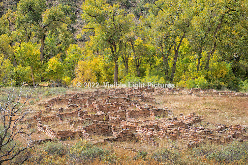 Bandelier National Monument, New Mexico.  Remnants of the stone foundations that were once dwellings belonging to the ancient inhabitants.