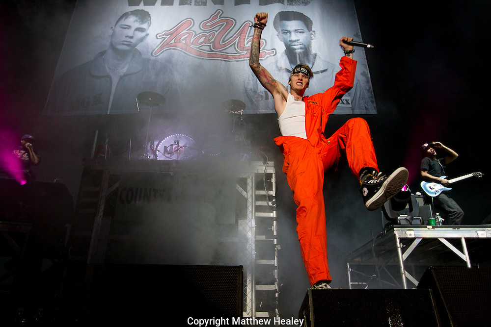 Rapper Machine Gun Kelly takes the stage for the MMG Tour stop in, Providence, Rhode Island at the Dunkin Donuts Center on November, 16, 2012.  Photo by Matthew Healey