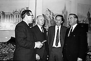 Cork Film Festival Press Reception. (L-R) Rex Roberts, Chair, Organising Committee of the TV Commercials Awards Scheme; Mayor F. O'Donoghue, Festival Council; Hugh Spencer Phillips, Chair, Specialized Film Producers, Association; and Dermot Breen, Director.<br /> 03.04.1964
