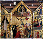 Triptych with Crucifixion as central panel. Master of Bologna, 15th century.