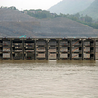 Asia, China, Yangtze River. Rising waters flood a structure on the Yangtze River.