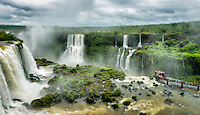 Visitors on the viewing platrorm on the Brazilian side of Iguazu Falls.
