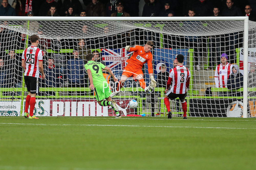 Forest Green Rovers Christian Doidge(9) heads the ball scores a goal 1-0 during the Vanarama National League match between Forest Green Rovers and Lincoln City at the New Lawn, Forest Green, United Kingdom on 19 November 2016. Photo by Shane Healey.