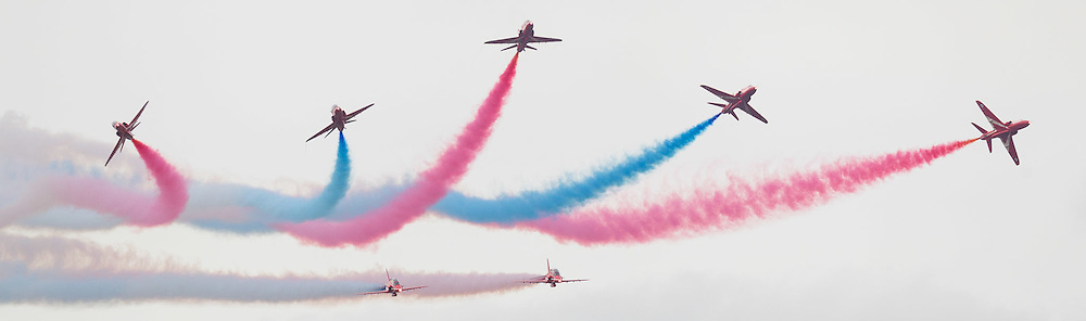 Red Arrows display at the Cotswold Air Show/Best of Britain Show.Cirencester, UNITED KINGDOM. August 26 2012.<br /> Photo Credit: Mark Chappell<br /> &copy; Mark Chappell 2012. All Rights Reserved. See instructions.