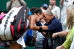 LONDON, ENGLAND - Monday, June 25, 2012: Heather Watson (GBR) gets a kiss from tennis coach Nick Bollettieri after winning her Ladies' Singles 1st Round on the opening day of the Wimbledon Lawn Tennis Championships at the All England Lawn Tennis and Croquet Club. (Pic by David Rawcliffe/Propaganda)